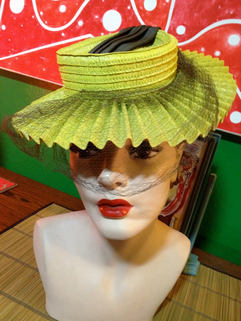 lime green pleated hat 3