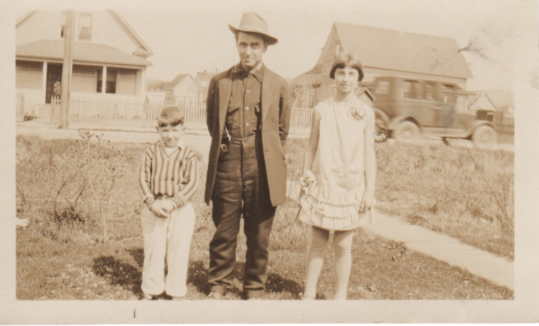 7. clyde easter sunday 1931 with kathryn & their grandpa